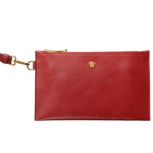 Versace Women's Leather Red Wristlet Wallet Clutch